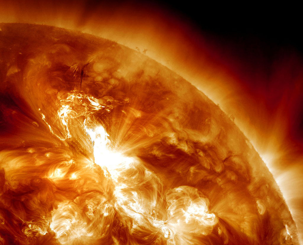 This Jan. 23, 2012 image provided by NASA, captured by the Solar Dynamics Observatory (SDO), shows an M9-class solar flare er
