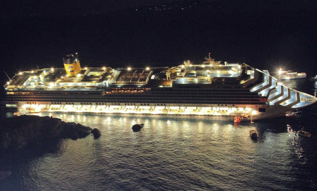 In this picture taken on Friday, Jan. 13, 2012 and made available on Wednesday, Jan. 25, 2012, the luxury cruise ship Costa C