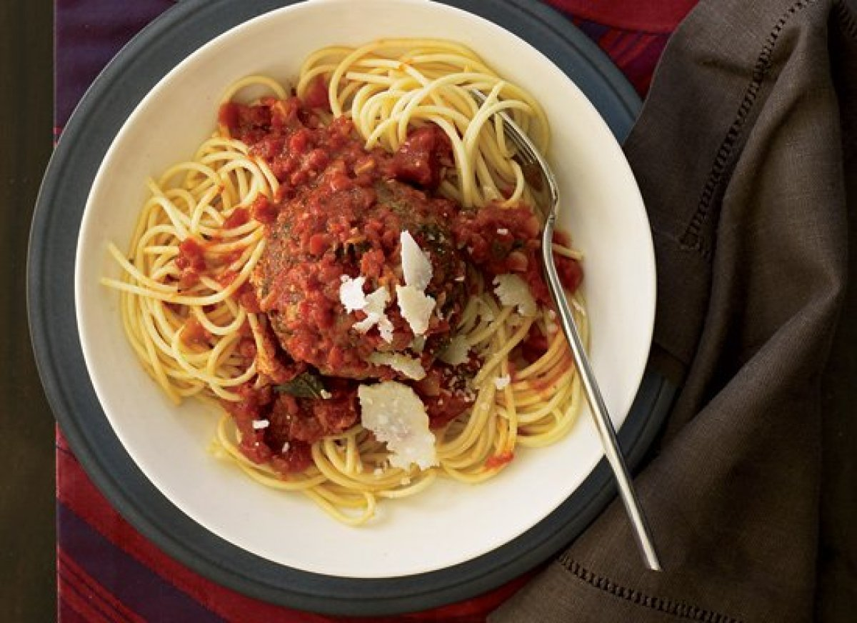 This spaghetti and meatballs recipe has the classic trifecta of ground meats -- pork, beef and veal. But the big difference i
