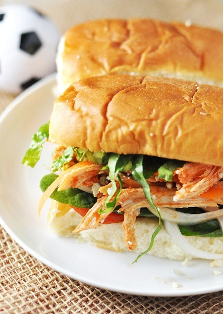 """<strong>Get the <a href=""""http://www.savoringthethyme.com/2012/09/the-ultimate-tailgating-buffalo-chicken-sub-sandwich-aka-hoa"""