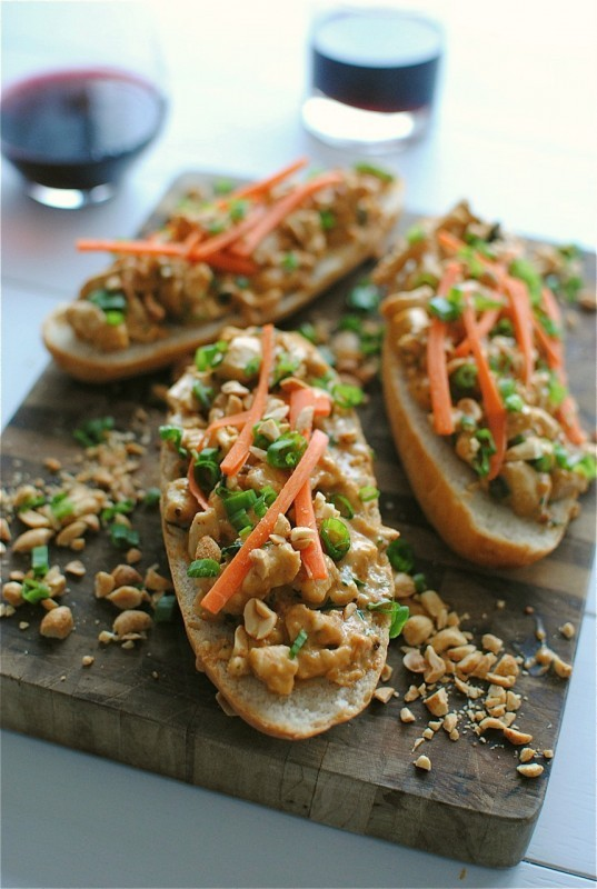 """<strong>Get the <a href=""""http://bevcooks.com/2013/01/open-faced-thai-peanut-chicken-sub-sandwiches/"""">Open-Faced Thai Peanut C"""
