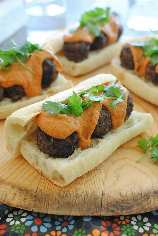 """<strong>Get the <a href=""""http://bevcooks.com/2012/11/indian-style-meatball-sub-sandwiches/"""">Indian-Style Meatball Sub Sandwic"""