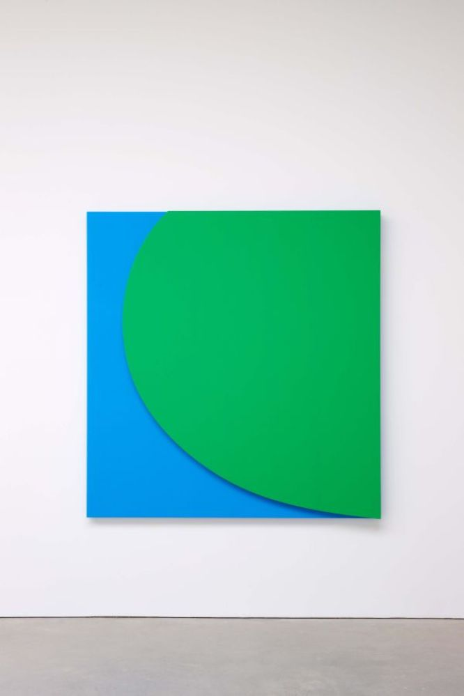 Ellsworth Kelly, <em>Green Relief with Blue</em>, 2011. Oil on canvas, two panels; 70 x 67 x 2 5/8 inches; 178 x 170 x 7 cm.