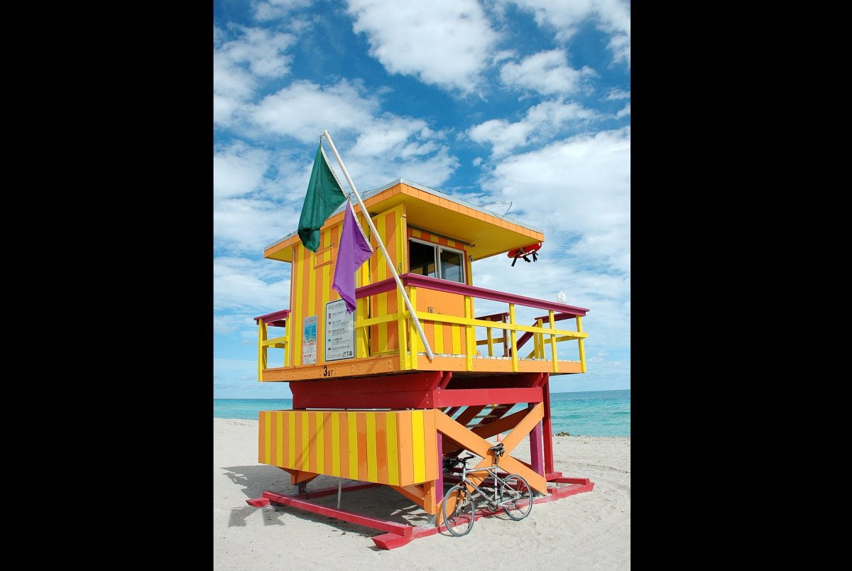 This is the place for people-watching art deco style. Lifeguards look out of whimsical art deco lifeguard huts on South Beach