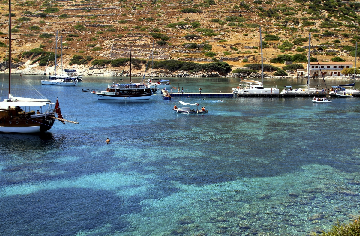 Boaters and swimmers are seen along the coastline of the Datca peninsula, near the ruins of Knidos, a seventh-century B.C. Gr