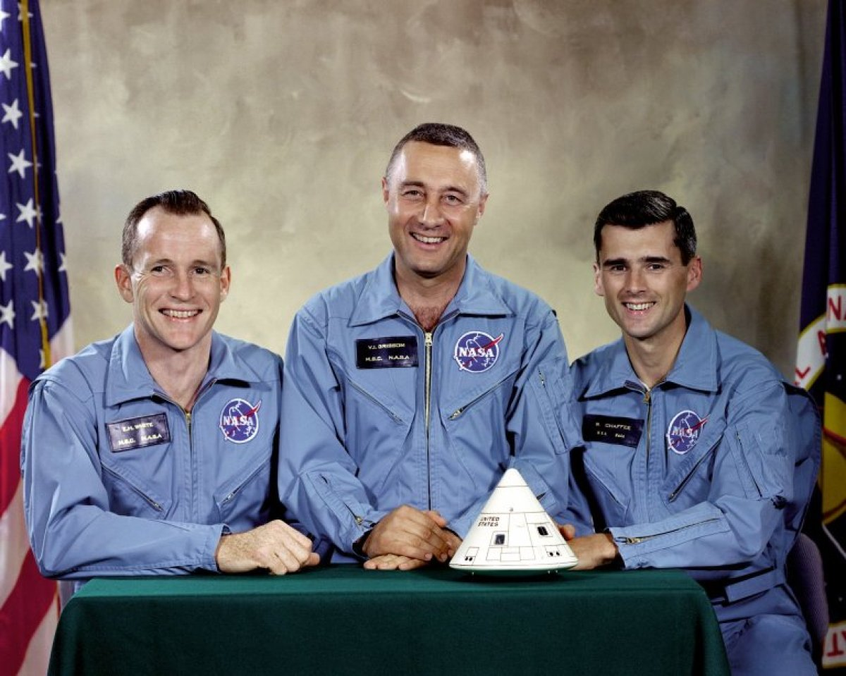 Apollo 1 Prime Crew Astronauts (left to right) Ed White, Gus Grissom and Roger Chaffee