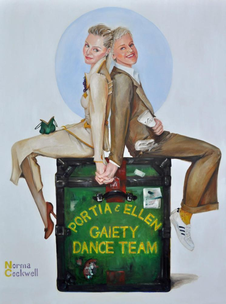 Portrait of Ellen Degeneres and Portia DeRossi by South Florida artist, Norma Cockwell.