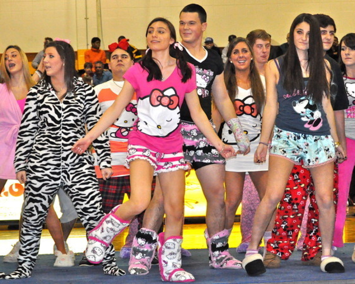 """After a recent """"Pajama Night"""" at a Connecticut high school, students decided that wearing their PJs to school was just so awe"""