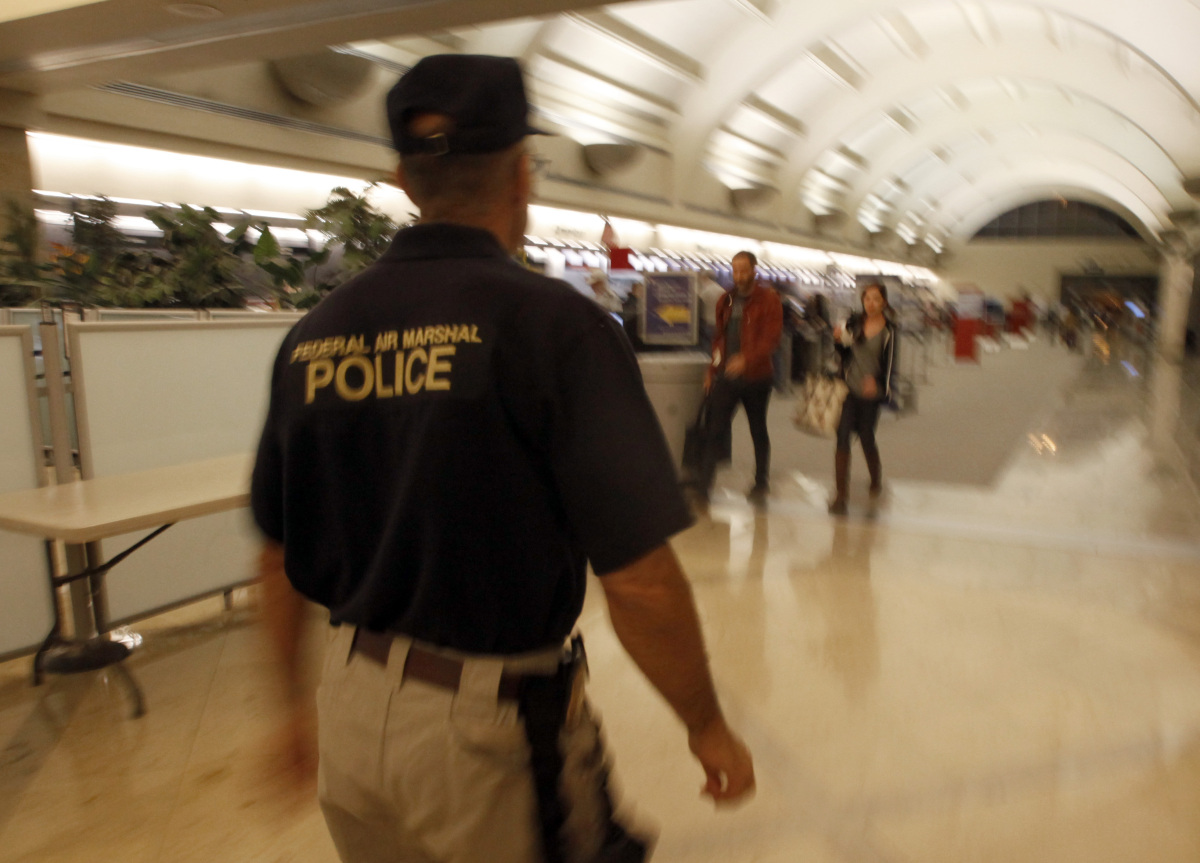 "Air marshals fly incognito to ""<a href=""http://www.tsa.gov/lawenforcement/programs/fams.shtm"" target=""_hplink"">detect, deter,"