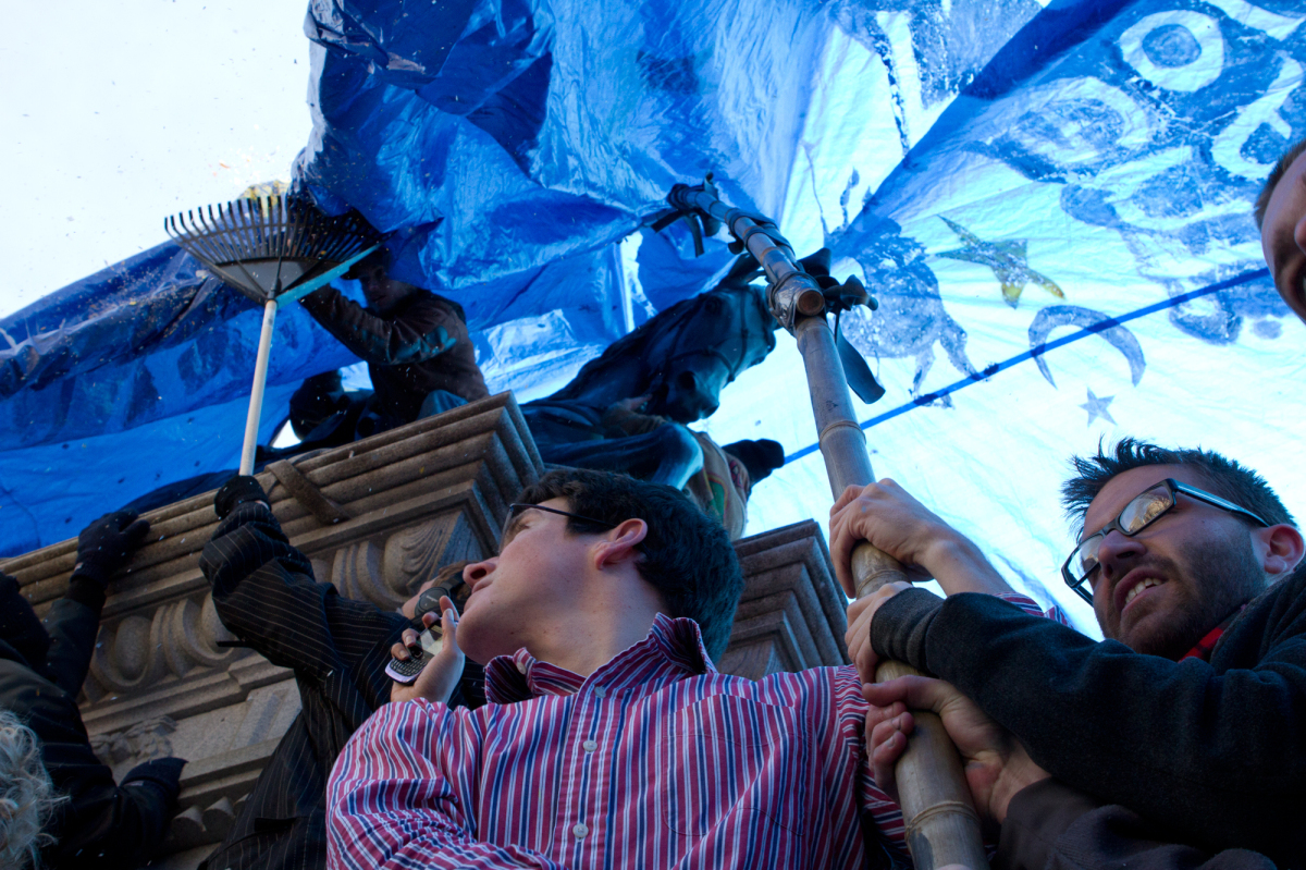 "McPherson Square's ""Tent of Dreams"" was put up just before noon on Jan. 30, 2012."