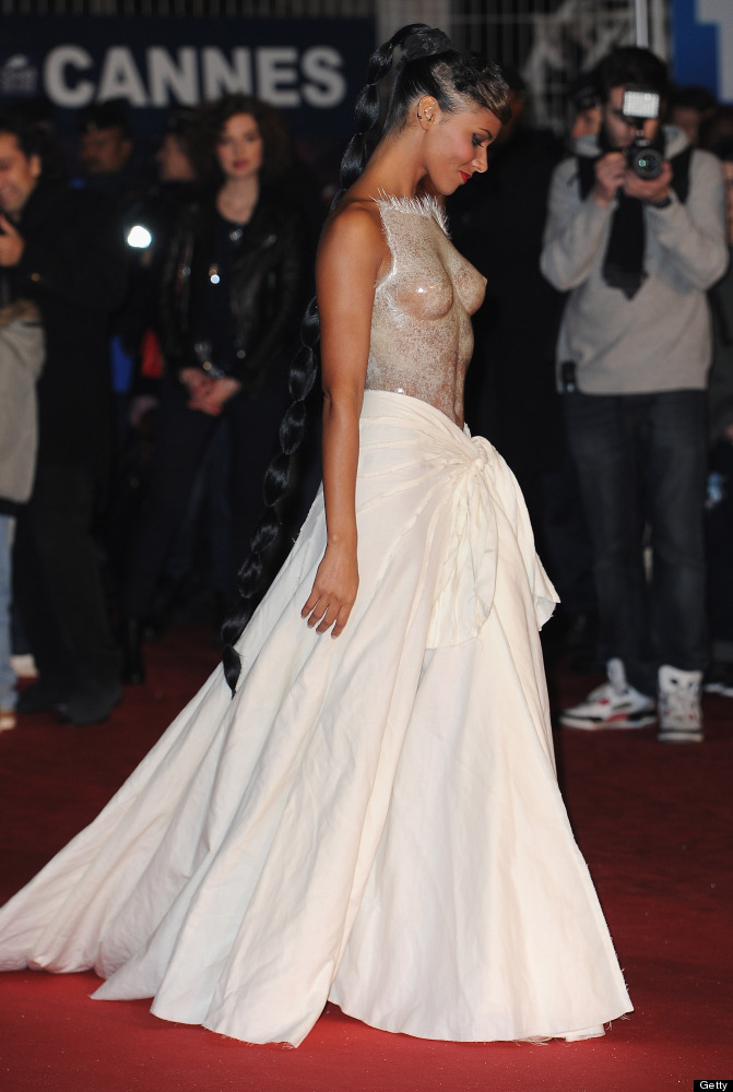 CANNES, FRANCE - JANUARY 28:  Shy'm poses as she arrives at NRJ Music Awards 2012 at Palais des Festivals on January 28, 2012