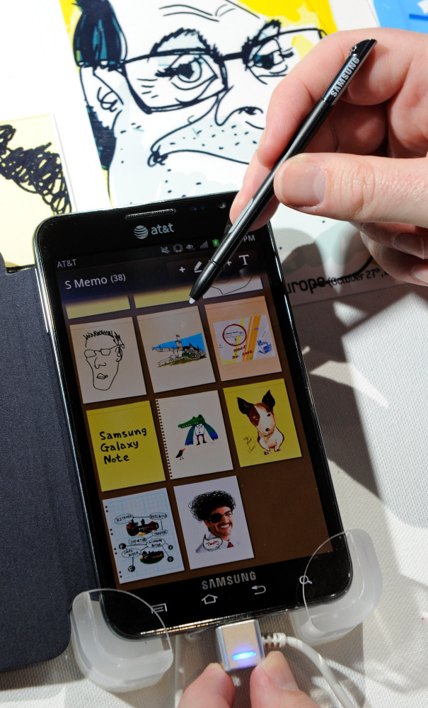 LAS VEGAS - Jan. 10:  The Galaxy Note smartphone with integrated S Pen is displayed at the Samsung booth at the 2012 Internat