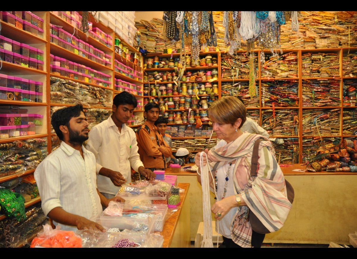 Zavida is always looking for unique stones and beads from all over the world. Lee found glass pearls at this shop in the Bhuj