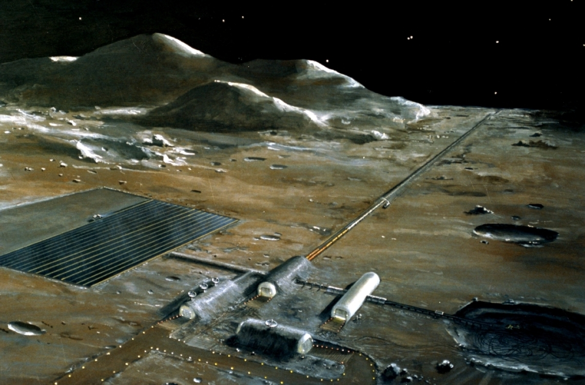 (June 1977)--- A painting of a lunar supply base which was displayed during the NASA-sponsored Ninth Lunar and Planetary Scie