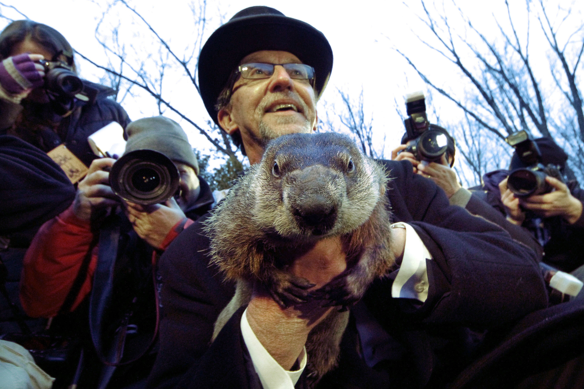 Groundhog Club handler Ron Ploucha holds Punxsutawney Phil, the weather prognosticating groundhog, during the 126th celebrati