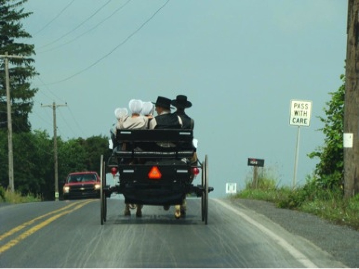 A group of young Amish men and women in central Pennsylvania return home from Sunday worship.