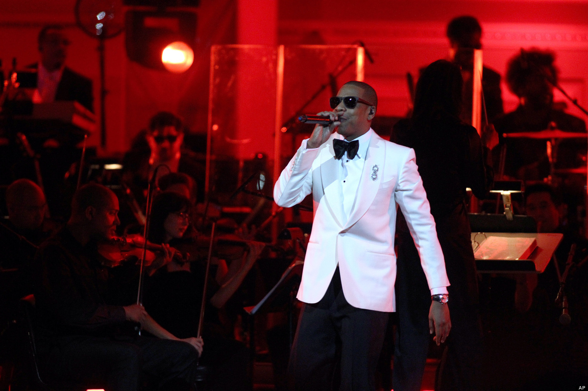 Rapper Shawn Carter, better known as Jay-Z, performs on stage at Carnegie Hall in New York on Monday, Feb. 6, 2012. Ticket sa