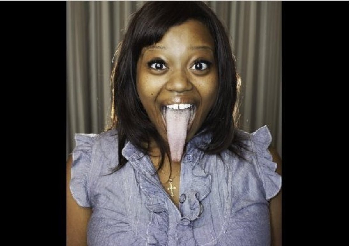 Chanel Tapper has a tongue that measures a whopping 3.8 inches, from tip to top lip.