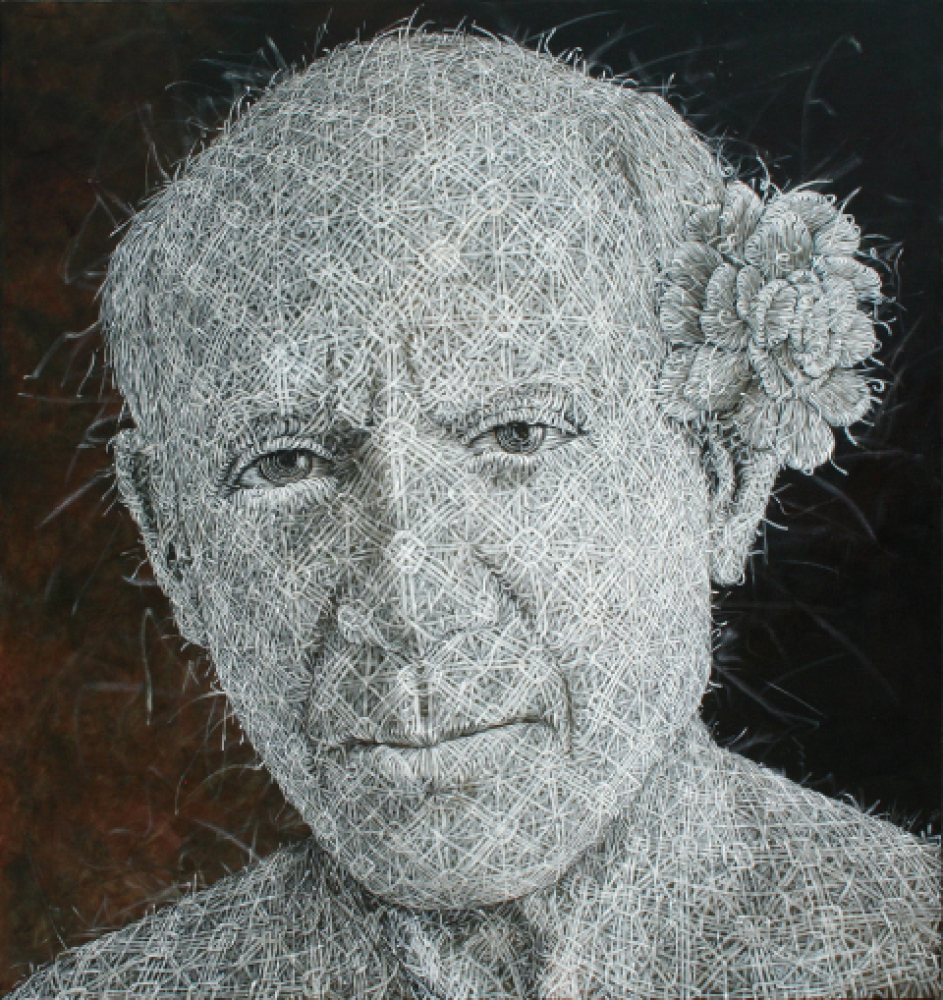 "Alexi Torres, ""Pablo Picasso"", Oil on Cancas, 84 x 78 Inches, 2011."