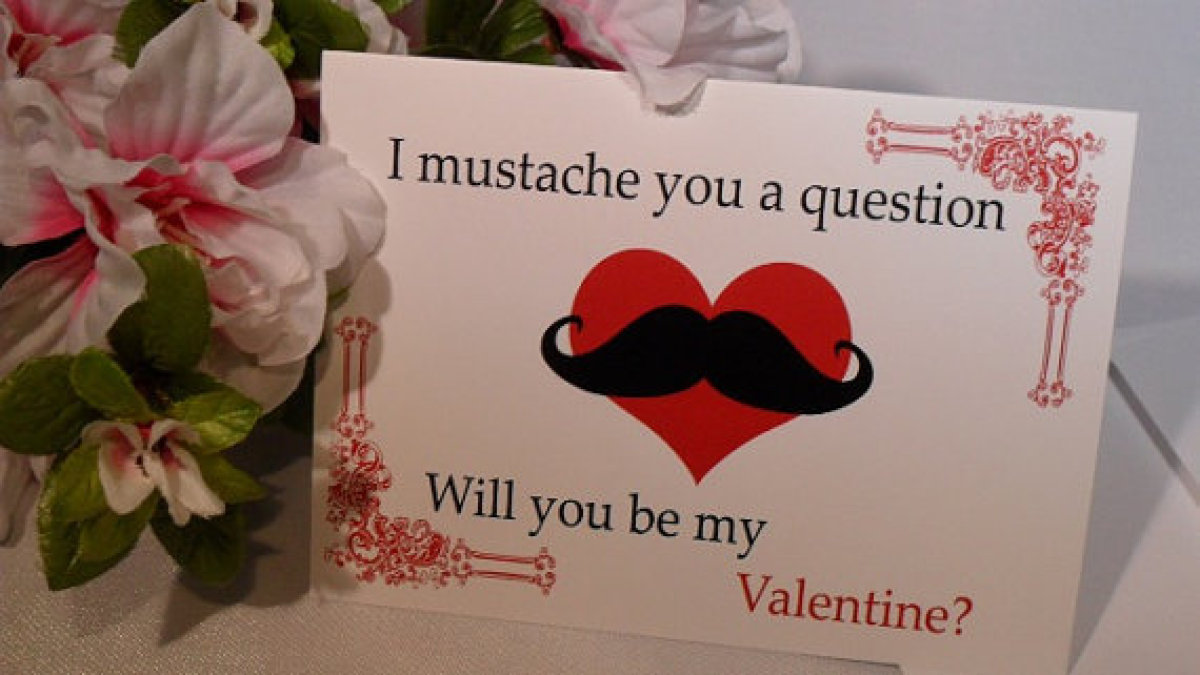 "Write a sweet and silly love note inside this adorable <a href=""http://www.etsy.com/listing/91624890/valentine-card-mustache-"