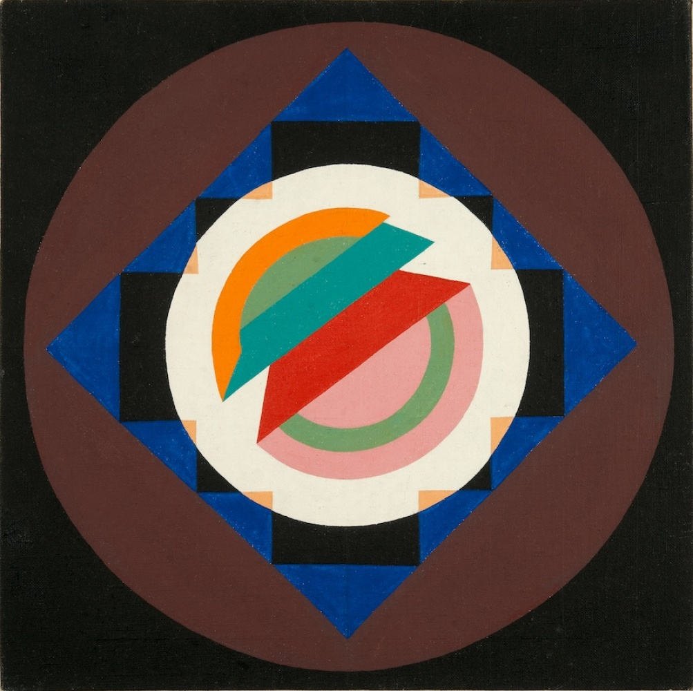 Judy Chicago Small Early Painting 1961 Acrylic on canvas 13.13x 13.06 in. Image courtesy of the artist and Nye + Brown,