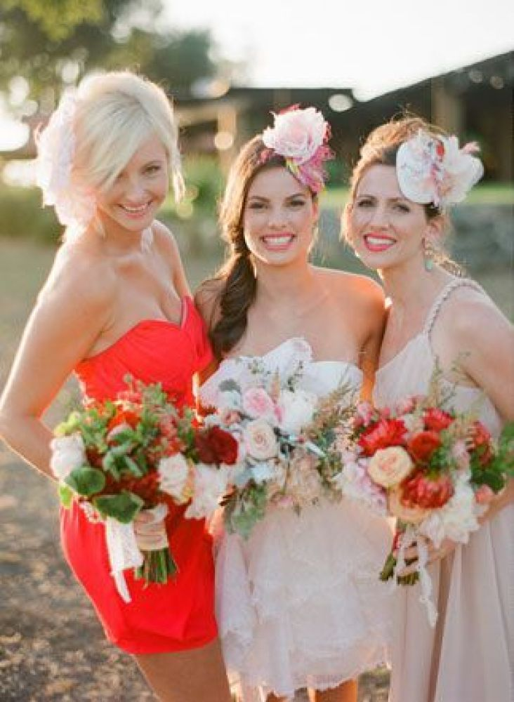 """Bridesmaids <a href=""""http://lover.ly/image/details/89102"""" target=""""_hplink"""">embracing the mix and match</a> dress trend with h"""