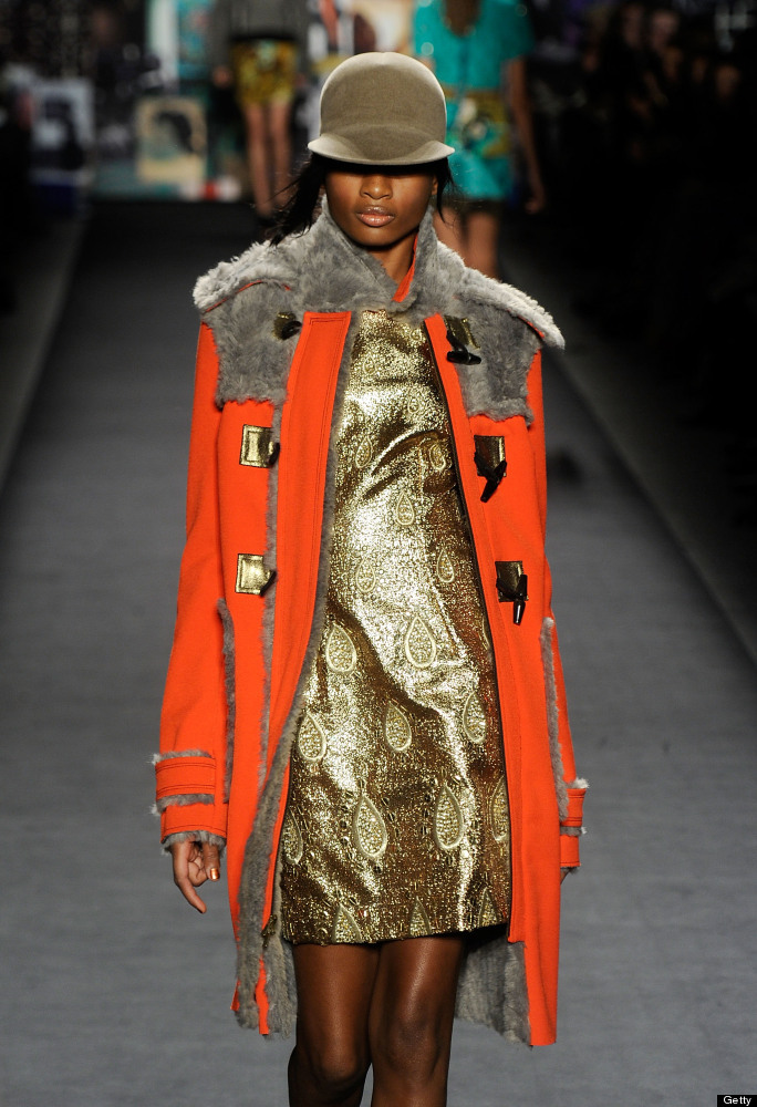 NEW YORK, NY - FEBRUARY 12:  A model walks the runway at the Tracy Reese Fall 2012 fashion show for TRESemme during Mercedes-
