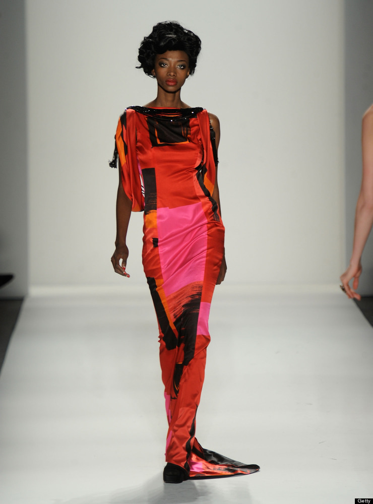 NEW YORK, NY - FEBRUARY 13:  A model walks the runway at the Zang Toi Fall 2012 fashion show during Mercedes-Benz Fashion Wee