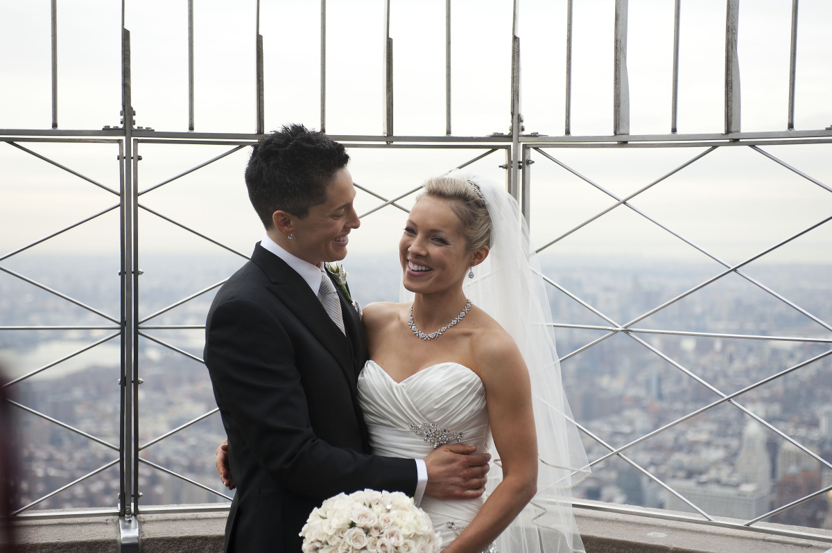 At 8 a.m. on Feb. 14, 2012, Stephanie Figarelle (left), 29, and Lela McArthur, 24, became the first same-sex couple to be mar