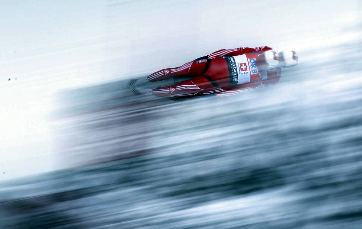 An athlete competes during mixed team relay run in the Luge World Championship on Feb. 12, 2012 in Altenberg, Germany.  (Mart