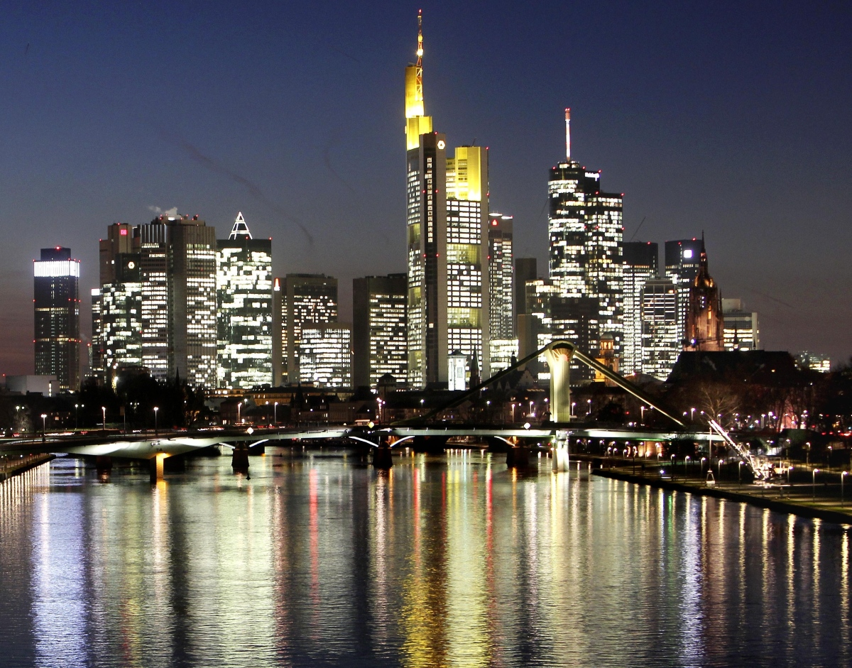 Nightly view of the skyline of Frankfurt/Main, Germany, in this photo taken Tuesday night, Sept. 3, 2002. (AP)