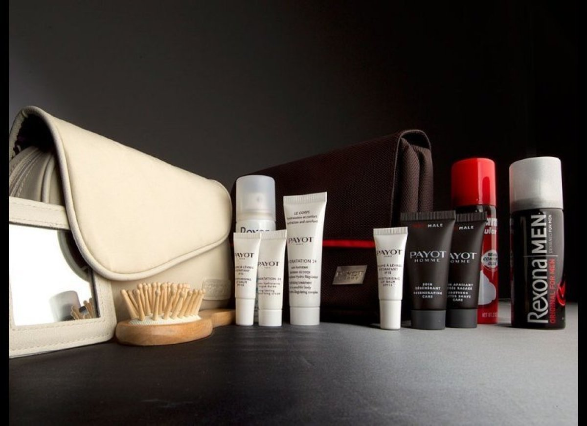 Qantas divvies its products by gender: Men get a fold-out travel bag, and women score a daintier clutch-style purse, both fil