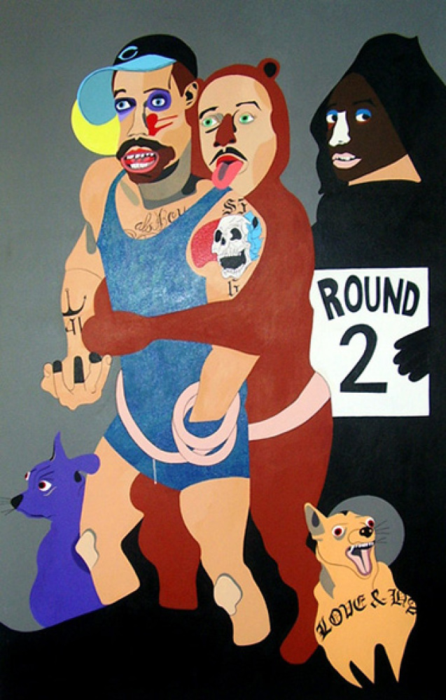 "Nina Chanel Abney, ""Behind Every Good Man"", Acrylic on canvas, 61 1/2 x 39 1/2"", 2010, Courtesy of Kravets