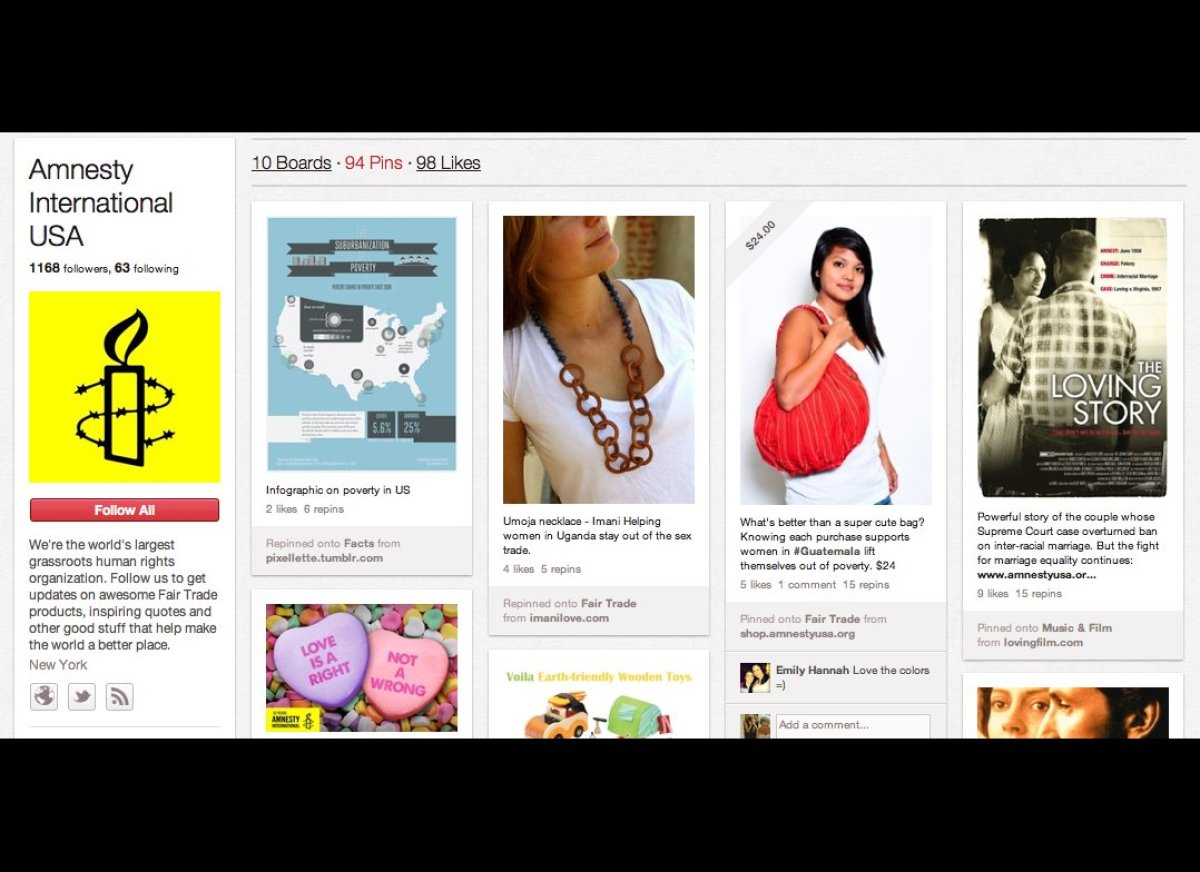 """<a href=""""http://www.amnesty.org/"""" target=""""_hplink"""">Amnesty International</a> pins items on its site ranging from shopping pov"""