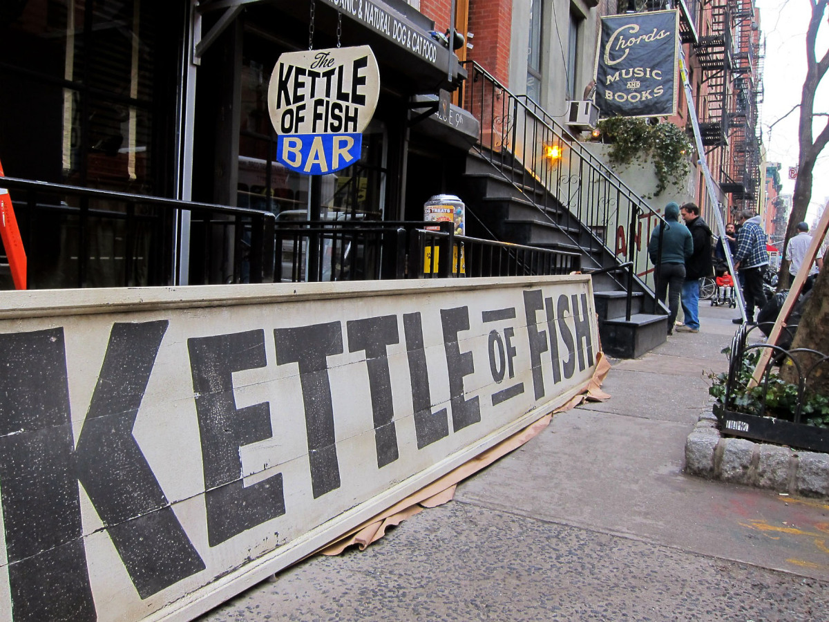 """On the set of the Coen brothers' """"Inside Llewyn Davis"""", East 9th Street, Kettle of Fish. (<a href=""""http://www.flickr.com/phot"""