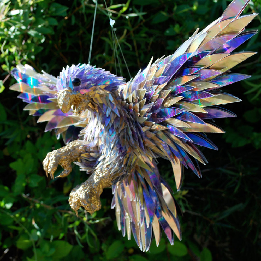 "Sean E Avery ""Peregrine Falcon"", wire mesh, CD shards, hot glue, gold paint"