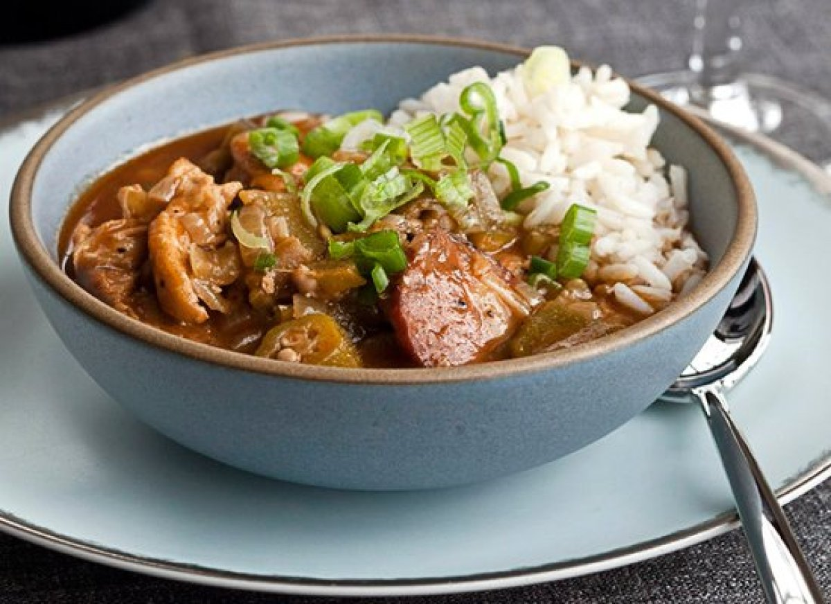 This gumbo recipe has all the classic ingredients. It starts off with the holy trinity of onions, bell peppers and celery and