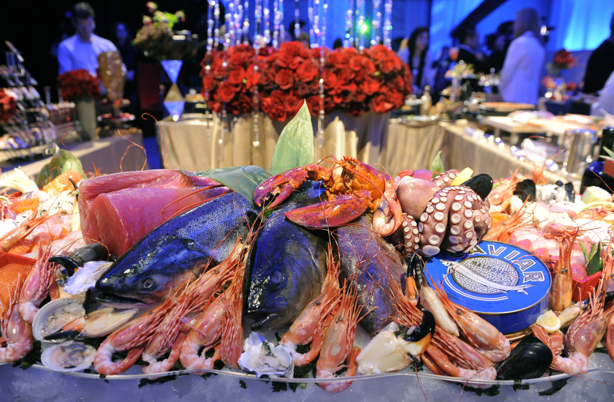 Seafood items are displayed during a preview of the Governors Ball, the celebration that will follow the 84th Academy Awards,
