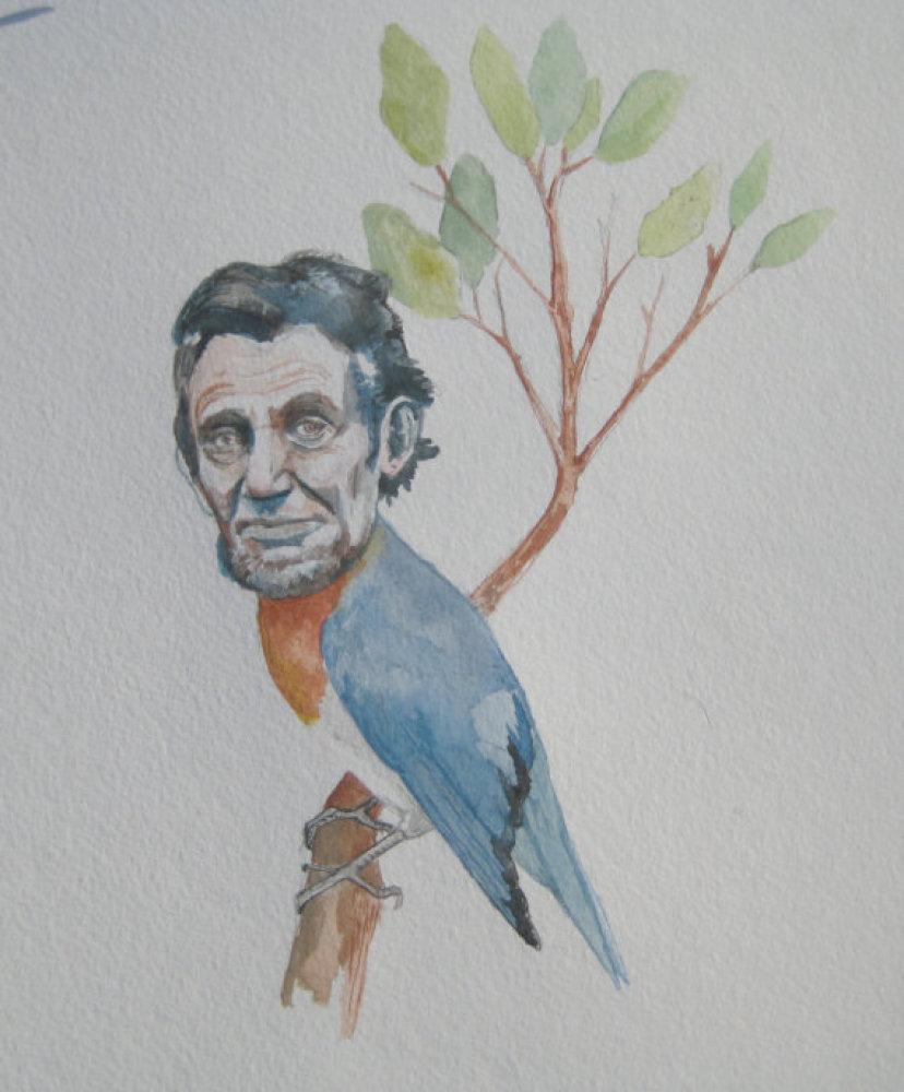 "The artist of this <a href=""http://www.etsy.com/listing/92352075/abraham-lincoln-as-a-bluebird?ref=sr_gallery_38&sref=&ga_sea"