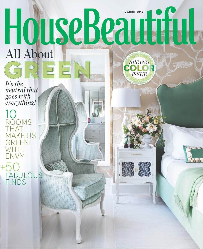The March 2012 cover features a bedroom decorated in soothings shades of green.