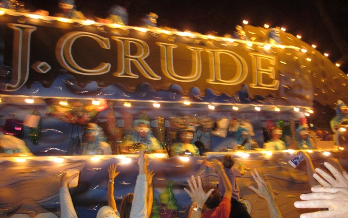 "The ""J. Crude"" float from Muses' 2012 Mardi Gras parade showed two oysters commiserating ""ketchup and horseradish I understan"