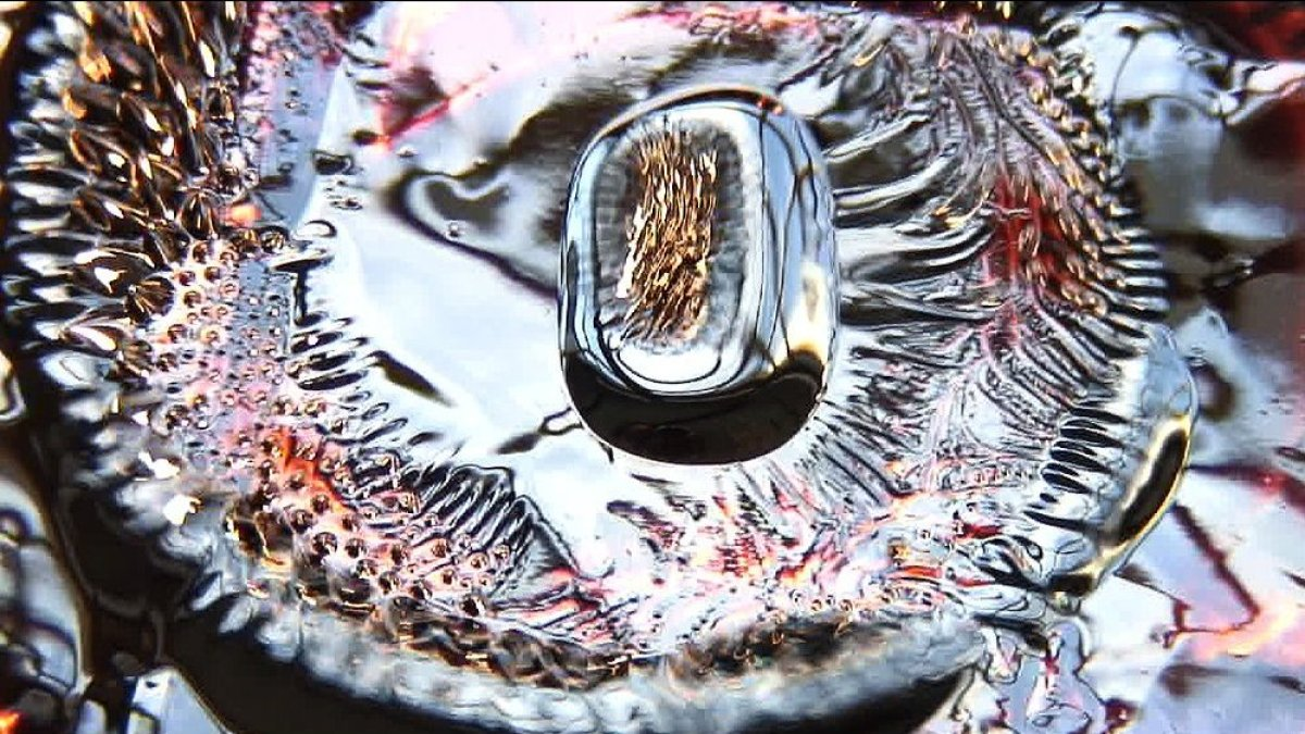 <strong>Material Study, 2006.</strong> Paint and ferrofluid filmed live on HD Video.