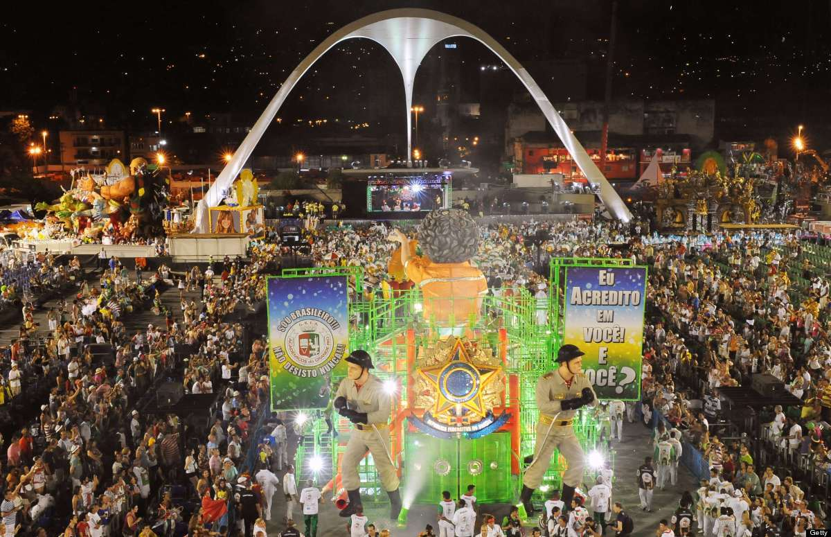 Revellers of the Academicos do Grande Rio samba school perform during the second night of Carnival at the Sambadrome in Rio d