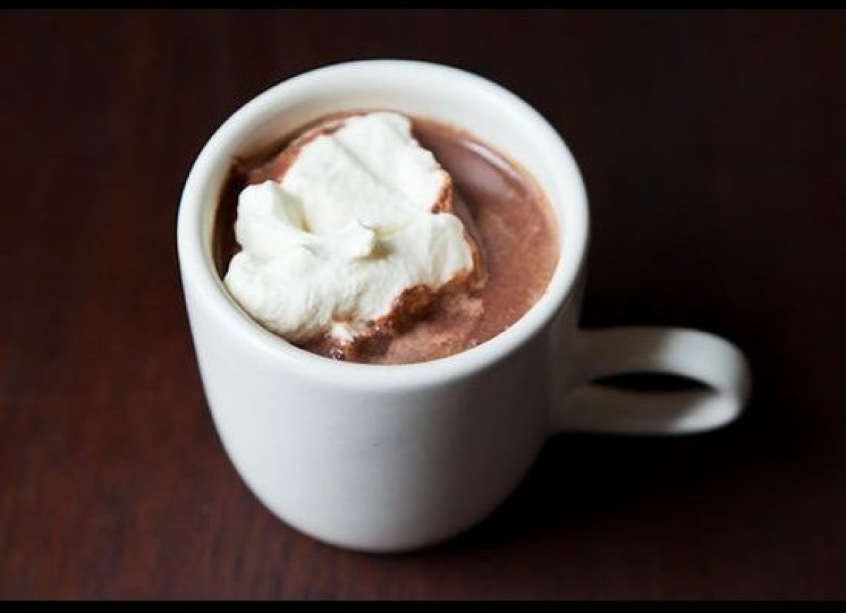 Drinking chocolate this is not. More like drink-up-able. Whole milk, unsweetened cocoa powder and luscious dark chocolate (th