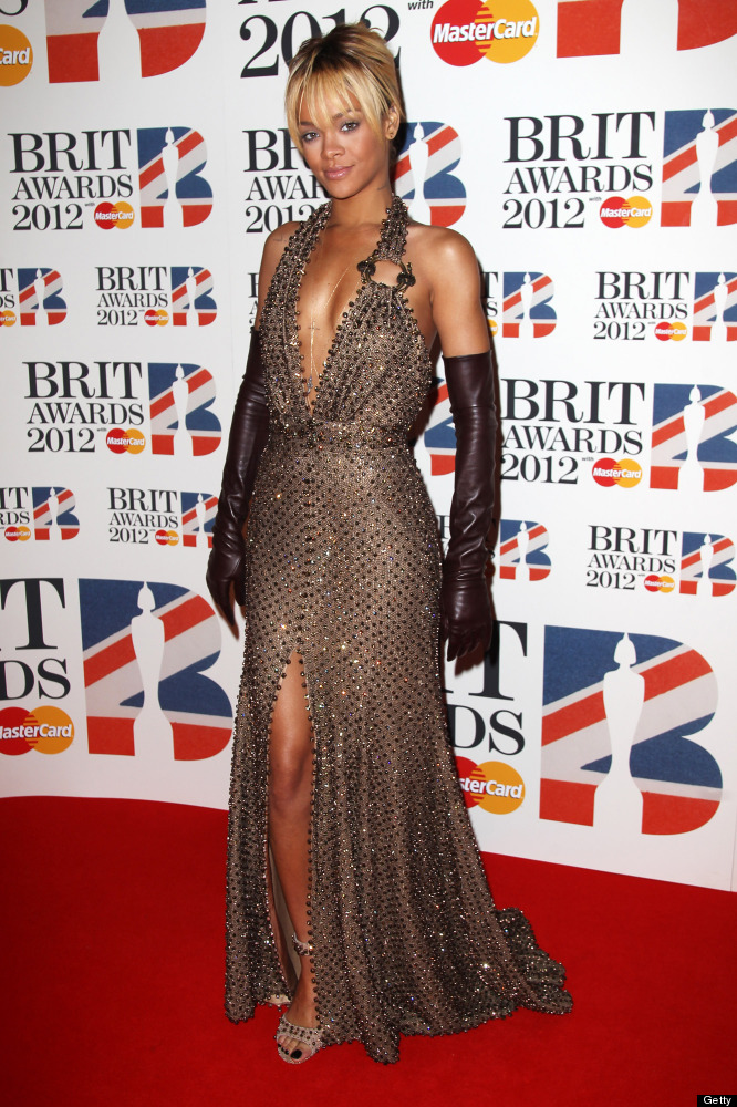 LONDON, ENGLAND - FEBRUARY 21:  Rihanna attends The Brit Awards 2012 at The O2 Arena on February 21, 2012 in London, England.