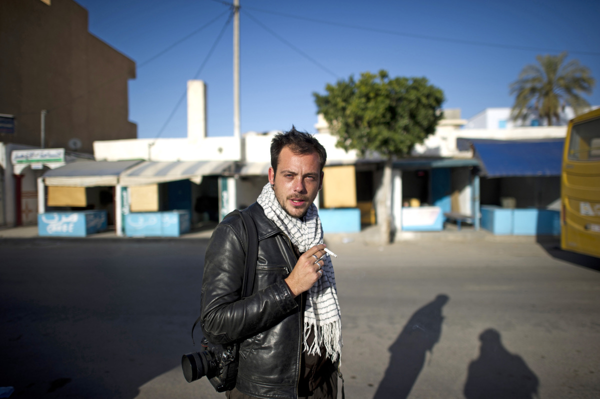 Undated photo of French photographer Remi Ochlik as he was covering the Tunisian revolution, who died Wednesday Feb. 22, 2012