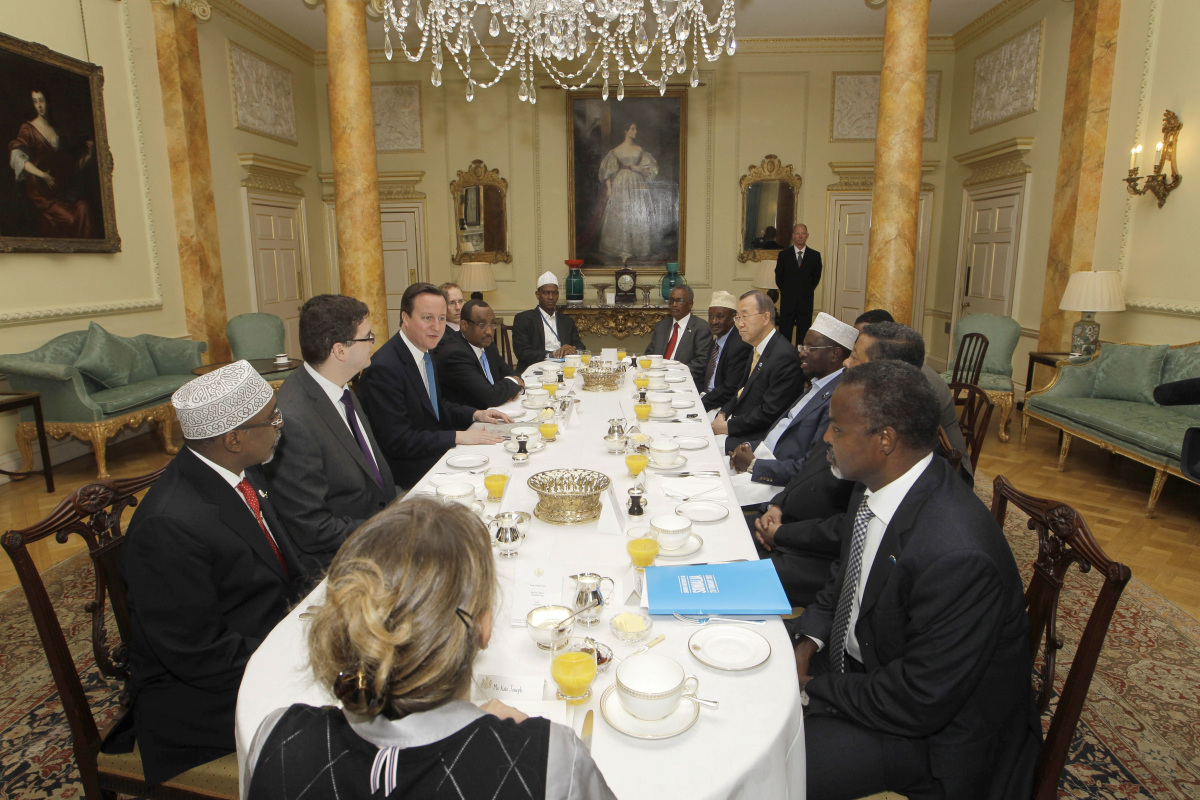 British Prime Minister David Cameron, third left, leads a breakfast meeting with representatives of Somalia and the UN at 10