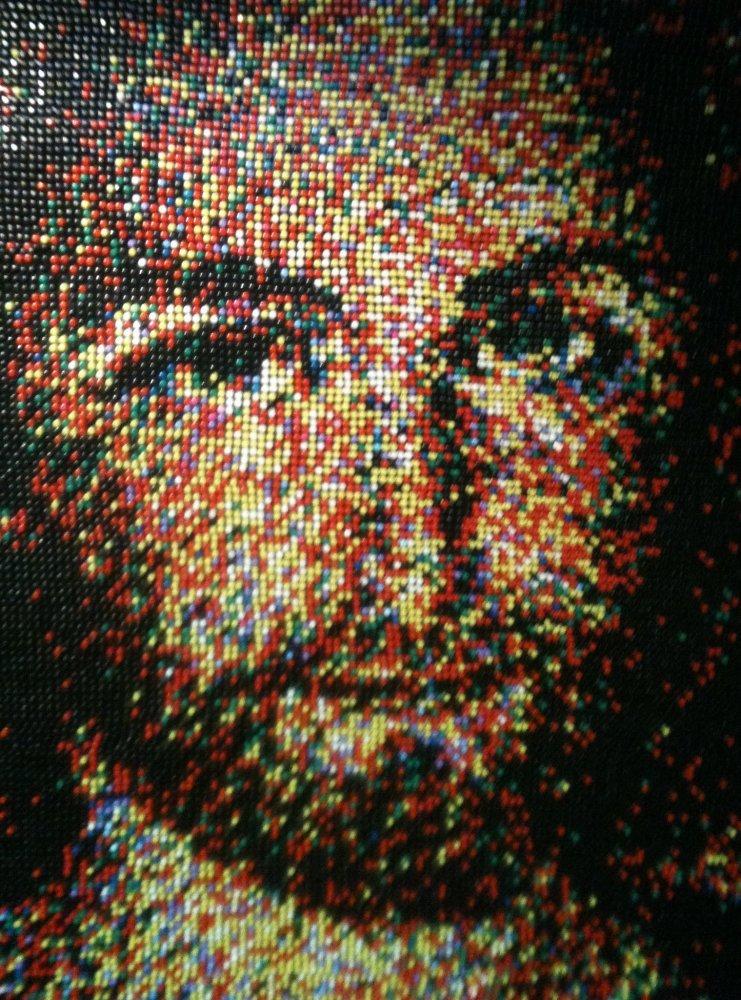 Rob Surette's portrait of Jesus made from 24,790 push pins. Credit: Rob Surette
