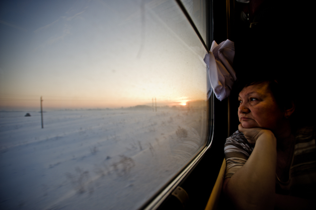 Valya, after two days of my company, Trans-siberian Railway, January 2009.