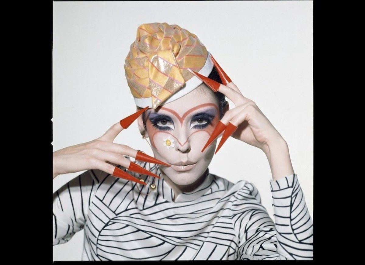 Peggy Moffitt modeling Rudi Gernreich design, 1968, photo by William Claxton